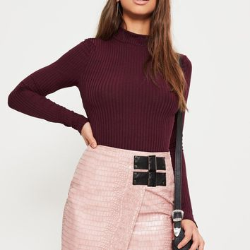 Missguided - Purple Ribbed High Neck Crop Top