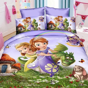 Kids Girls Sophia princess Bedding set 3D cartoon duvet cover  bed sheet and pillowcase Twin Full Queen size