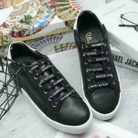 Dolce & Gabbana new fashion letters lace up single shoes Black