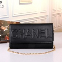 """Chanel"" Women Simple Fashion Flip Solid Color Embossed Letter Metal Chain Single Shoulder Messenger Bag"