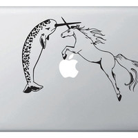 Narwhal VS Unicorn Vinyl Decal for Macbooks iPads by Geekals