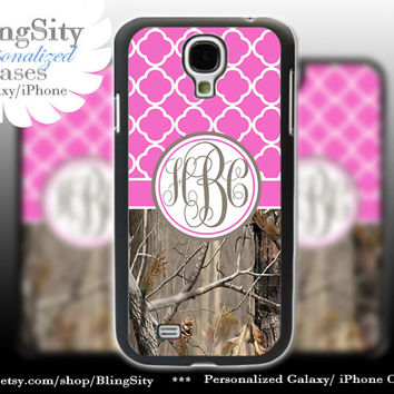 Monogram Galaxy S4 case S5 Real Tree Camo Hot Pink Quatrefoil Personalized RealTree Samsung Galaxy S3 Case Note 2 3 Cover