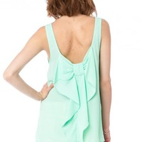 Coletta Bow Tank in Mint - ShopSosie.com