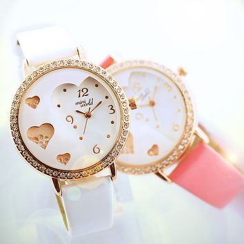Women's Rhinestones Heart Shaped Watch