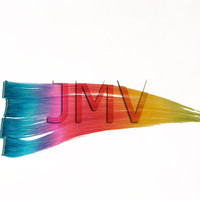 "Tape In Hair 18"" Rapid Rainbow 100% human hair Dip Dye Ombre extensions Aqua Blue Lavender Purple Pink Red Orange Yellow Green"