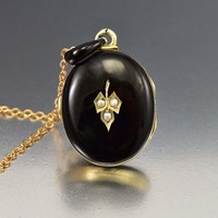 Black Enamel Pearl Victorian Locket Mourning Jewelry
