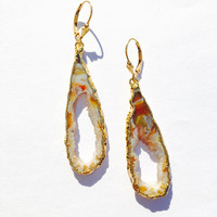 Sliced Agate Geode Earrings