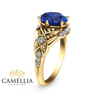 Art Deco  Sapphire Engagement Ring Blue Sapphire Engagenment Ring 14KYellow Gold Ring