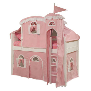 Emma Low Loft Bed with Ladder Bottom Curtain Tope Tent and Tower