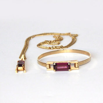 Vintage Avon Necklace and Bracelet Set - Gold Tone with a Lilac Purple Stone - Designer Jewelry - Gold Tone - Wedding Set - Gift