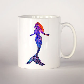 Mermaid coffee mug, Mermaid watercolor Tea Cup, coffee cup 11 oz. Mug art, Ceramic Mug art, Ocean art, Sea print,