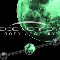 Glow in the Dark Moon Industrial Barbell in Black Titanium | Body Candy Body Jewelry