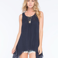 Blu Pepper Lace Overlay Womens Tank Navy  In Sizes