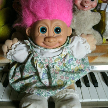 Vintage Plush Stuffed Troll Doll Girl with Floral Dress