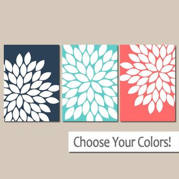 Navy Coral Flower Wall Art, Canvas or Print, Coral Bathroom Decor, Turquoise Bedroom Pictures, Flower Burst Dahlias, Set of 3, Home Decor