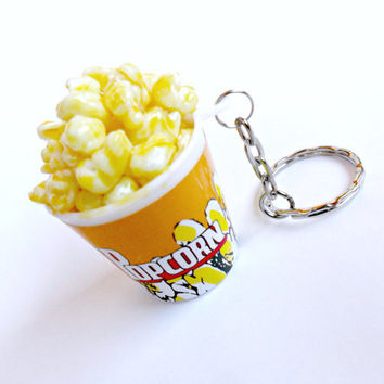 Popcorn Keychain, Key ring, Miniature Food, Cute!