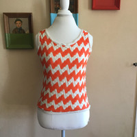 70s Orange and White Knit Tank Top Size Small