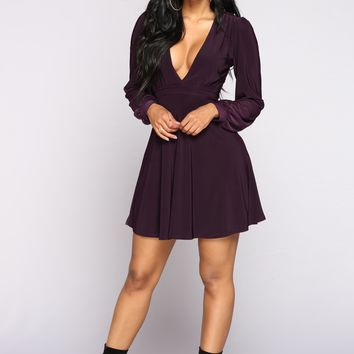 Not A Flare In The World Dress - Plum
