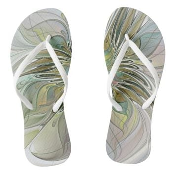 Floral Fantasy, Abstract Fractal Art Flip Flops