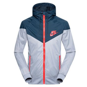 """NIKE""Fashion Hooded Zipper Cardigan Sweatshirt Jacket Coat Windbreaker Sportswear print letters Grey"