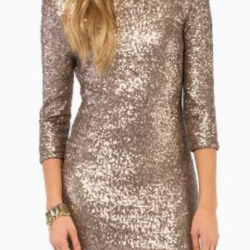 Starlit Evening Long Sleeve Sequin Bodycon Dress in Gold | Sincerely Sweet Boutique