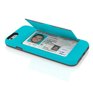 Cyan/Gray Credit Card STOWAWAY Case for iPhone 6/6s