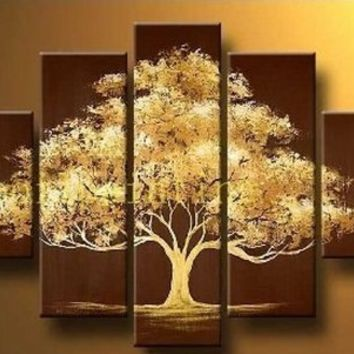 100% Hand Painted Modern Abstract Oil Painting on Canvas Wall Art Deco Home Decoration Tree of Life 5 Pic/set Stretched Ready to Hang