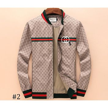 GUCCI 2018 autumn and winter new men's tide brand casual baseball collar embroidery jacket F-A00FS-GJ #2