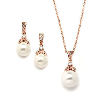 Mariell Vintage CZ and Ivory Glass Pearl Wedding Necklace & Earrings Set Plated in Genuine 14K Rose Gold