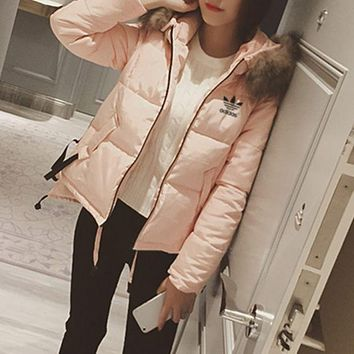 ESBON Adidas' Women Fashion Cardigan Fur Collar Hooded Long Sleeve Cotton-padded Clothes Jacket Down Coat