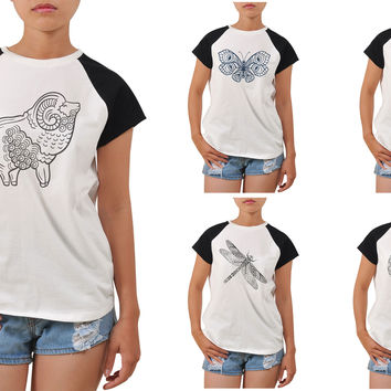 Women Animals drawing in black- white Printed T-shirt WTS_04