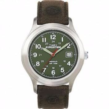Mens Olive Dial Full Size Timex Field Expedition Watch Leather Band