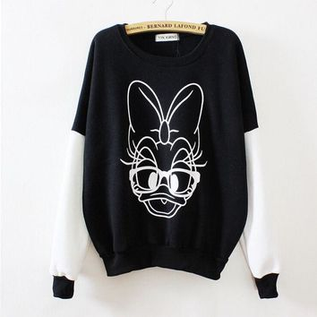 MDIG7ON Spell color cartoon duck round neck sweater