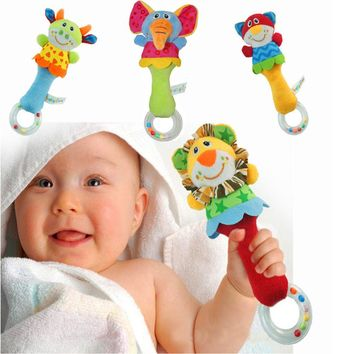 Kids Baby Lovely Animal Model Hand bells Rattles Handle Circle Teether Developmental Toys Handy Baby Comforting Toy