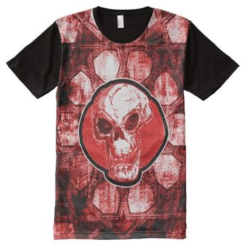 cartoon skull and traditional turkish tile All-Over print t-shirt