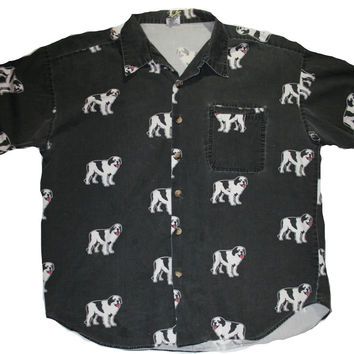 Vintage 90s Big Dog All Over Print Button Up Shirt Mens Size XL