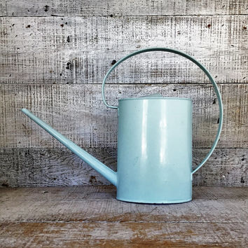 Watering Can Mid Century Watering Can Vintage Blue Watering Can Vintage Water Pitcher Flower Pot Garden Decor Cottage Chic