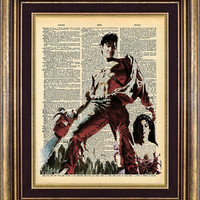 EVIL DEAD Ash Dictionary page art print book page art print up cycled