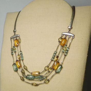 "Multi Layer Beaded Chain Choker Necklace Silver Tone Flat 4 layers Light Blue Aquamarine Yellow Amber Color 16 1/2"" to 17 1/2"" Vintage"