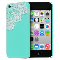 Fosmon GEM-LACE Series 3D Bling Lace Design Case for Apple iPhone 5C (Mint)