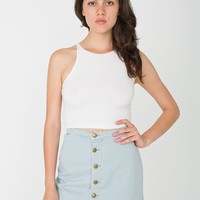rsadm320 - Button Front Denim A-Line Skirt