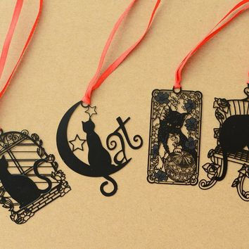 24 pcs/Lot Cartoon black cat metal bookmarks for books Notebook tab book mark Stationery School supplies marcador de livro