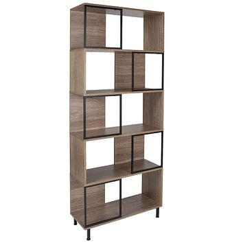 """Paterson Collection 29.75"""""""" x 72.25"""""""" Wood Grain Finish Bookshelf and Storage Cube"""