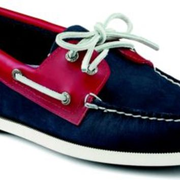 Sperry Top-Sider Authentic Original Seaglass 2-Eye Boat Shoe Navy/Red, Size 8.5M  Men's Shoes