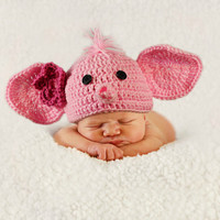 Baby Elephant Hat -- Gray Baby Hat - Newborn Photo Prop