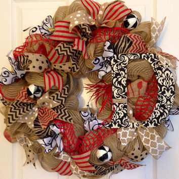 Burlap Summer Monogram Wreath, Burlap DecoMesh Monogram Wreath, Fall Burlap DecoMesh Monogram Wreath, Red White Black Wreath, Door Wreath
