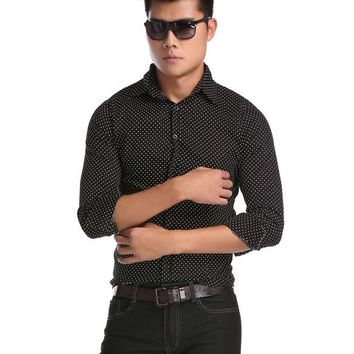 Black New Fashion Stylish Men's Slim Fit Casual Formal Wear Dots Blouse Shirt