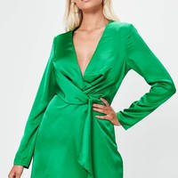 Missguided - Green Silky Plunge Wrap Shift Dress