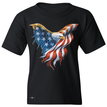 Zexpa Apparel™ American Flag Bald Eagle Youth T-shirt USA Flag 4th of July Tee