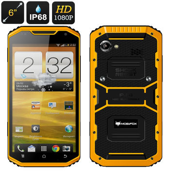 MFOX A8 Military Rugged 6 Inch Smartphone - IP68, MIL-STD-810G Certification, MTK Quad Core CPU, 2GB RAM, GPS, Bluetooth